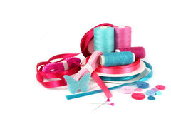 Craft sewing ribbons, thread and buttons Royalty Free Stock Photography