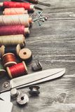 Craft. Sewing tailoring tailor background thread fabric royalty free stock photos