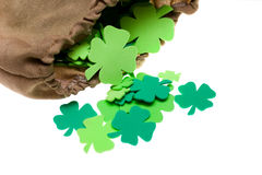 Craft Shamrocks on White Stock Photos