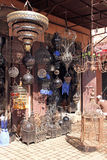 Craft shop. Shop handmade wrought iron in Marrakech stock photography