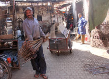 Craft shop. Shop handmade wrought iron in Marrakech, in the image some iron workers royalty free stock images