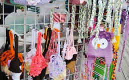 Craft Show. Tables at a Craft Show in Wildwood, New Jersey This is a table of crocheted hats and bags Stock Image