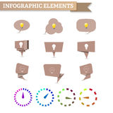 Craft speech bubble with bulb, material design, clock diagram. Of the dotted line with a gradient. Infographic royalty free stock images