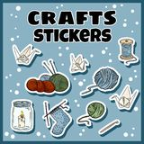 Craft stickers set. Collection of handicraft labels royalty free illustration