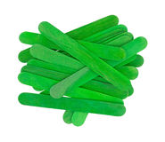 Craft sticks in holiday green Royalty Free Stock Photo