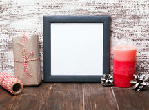 Craft style Christmas decor and blank frame Stock Photo