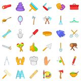 Craft tool icons set, cartoon style Stock Image
