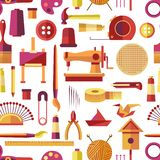 Craft tools and handmade instruments, hobby items vector. Seamless pattern with sewing machine, needles and threads in ball. Knitting and tailoring, painting vector illustration