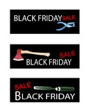Craft Tools on Three Black Friday Banners Royalty Free Stock Photo