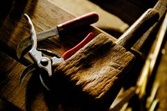 Craft tools on wooden workbench Royalty Free Stock Image