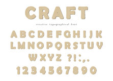 Craft typographical font. Cardboard ABC letters and numbers isolated on white. Vector Royalty Free Stock Photography