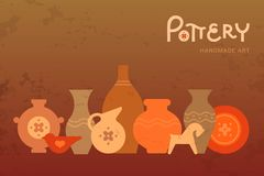 Different pottery vases in horizontal view. Handmade Ceramics Clay Pottery Workshop. Heritage Artisanal Creative Craft Pot Sign royalty free illustration