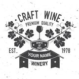 Craft wine. Winer company badge, sign or label. Vector illustration. Royalty Free Stock Image