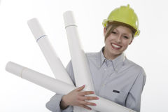 Craft woman. Young beautiful woman with helmet royalty free stock images