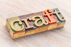 Craft word abstract in wood type. Craft word abstract in letterpress wood printing blocks stained by color inks Stock Image