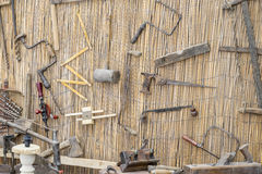 craft workshop traditional tools sculptor, wood, hammers and chi Royalty Free Stock Photos