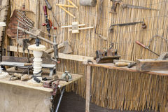 craft workshop traditional tools sculptor, wood, hammers and chi Stock Photo