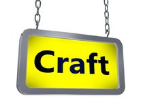 Craft on billboard. Craft on yellow light box billboard on white background Royalty Free Stock Image