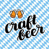 Craftbeer. Traditional German Oktoberfest bier festival. Vector hand-drawn brush lettering illustration on bayern. Background Royalty Free Stock Photos