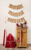 Crafted christmas gifts and advent calendar classical in red, gr Royalty Free Stock Photos