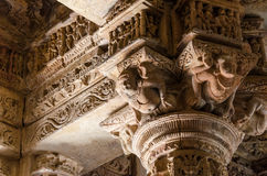 Crafted designs on rocks at Sun Temple Modhera Royalty Free Stock Images