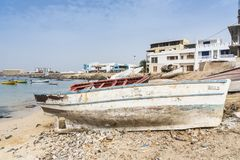 Crafted fishing boat Sal Rei Cape Verde royalty free stock image
