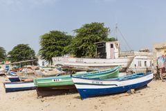 Crafted fishing boats Sal Rei Boa Vista royalty free stock photography
