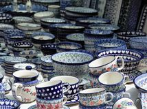 Crafted pottery. A market stall offering hand crafted pottery for sale stock photography