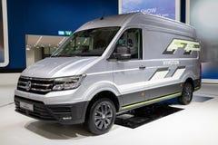 Crafter Volkswagens Wasserstoff-betriebener HyMotions-Konzeptpackwagen stockfotografie