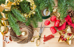 Crafting an advent wreath. With golden ornaments Stock Images