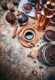 Crafting coffee in clay cup with bean Royalty Free Stock Images