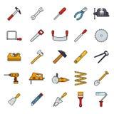 Crafting ferramentas encheu a linha grupo do vetor dos ícones Imagens de Stock
