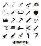 Crafting o grupo do ícone do glyph das ferramentas ilustração royalty free