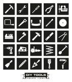 Crafting o grupo preto quadrado do ícone das ferramentas ilustração royalty free