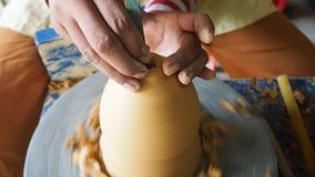 Crafting Pottery. hands making clay jug. Handmade. Craft. Traditional techniques stock footage