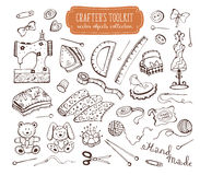 Crafting tools set. Hand made tools doodle set. Crafting items collection isolated on white background. Hobby equipments outlines. Crafter's toolkit royalty free illustration