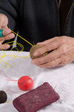 Crafting traditional sport balls. Expert hands crafting traditional sport balls Royalty Free Stock Photography