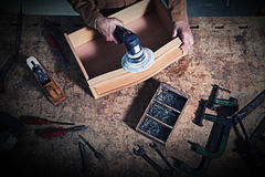 Craftman in action. Detail of carpenter on duty Stock Photos