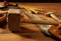 Craftman carpenter hand tools artist Royalty Free Stock Image