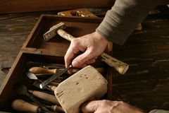 Craftman carpenter hand tools artist. Craftmanship Royalty Free Stock Image
