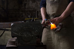 Craftman keep welding tool in a hand. Craftman keep welding stuff in a hand Royalty Free Stock Photo