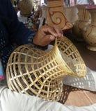 Craftman making vase basketry Royalty Free Stock Images