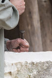 Craftman at work. The old craftman at work Royalty Free Stock Photos