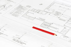 Craftmans pencil on architectural plan print Stock Photos