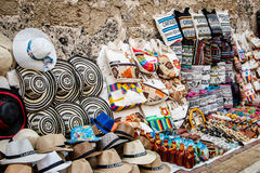 Craftmarket in Cartagena, Colombia. Souveniers in craftmarket in turisty town of Cartagena, Colombia stock photography