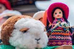 Crafts of Andean guinea pig and doll - Cajamarca Peru royalty free stock photography