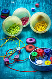 Crafts with beads Royalty Free Stock Images