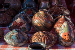 Crafts of ceramics from a stand in a market Stock Image