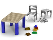 Crafts from the designer. Chair and table collected from children's designer and details of the building kit on a white surface. . 3D Illustration Stock Photography