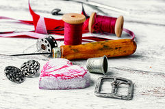 Crafts with leather materials Royalty Free Stock Photo